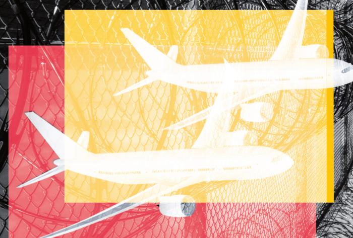 Kollage mit zwei illustrierten Flugzeugen vor einem Absperrzaun