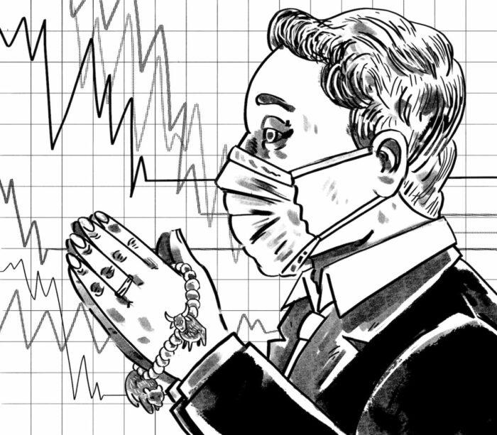 Illustration eines Mannes im Anzug mit Atemschutzmaske und Gebeitskette in mit Stier und Bär, im Hintergrund fallende Aktienkurse