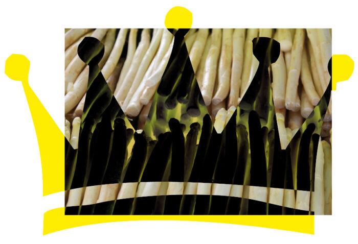 Aufgereihter Spargel, im Vordergrund eine illustrierte Krone