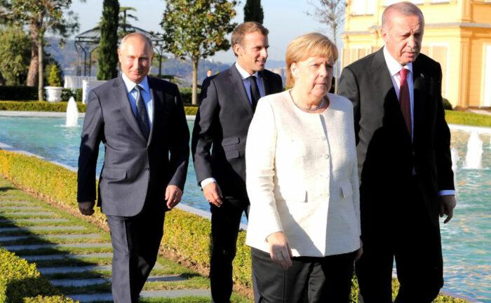 Merkel, Erdogan, Macron und Putin zusammen