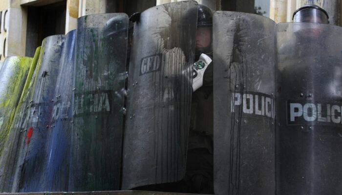 Polizei in Bogotá, 1. Mai 2008