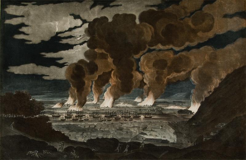 Altes Gemädle zeigt Schiffe an einer Bucht, hinter ihnen mehrere Flammen über eine Stadt in einer Tiefebene