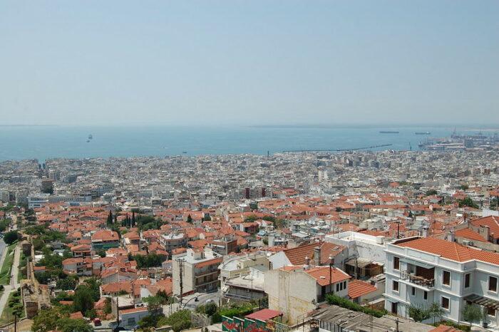 Millionenstadt Thessaloniki von oben