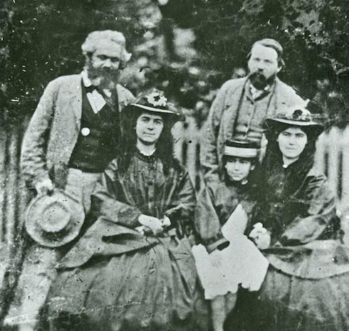 Karl Marx, Friedrich Engels sowie Laura, Eleanor und Jenny Marx